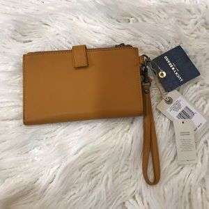 Lucky Brand Saffron Leather Zip  Bifold Wristlet